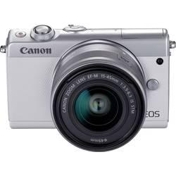 Systemkamera Canon EOS M100 15-45&55-200 MM Kit inkl. EF-M 15-45 mm + EF-M 55-200 mm 24.2 MPix Vit WiFi, Bluetooth, Hopfällbar d