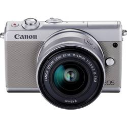 Systemkamera Canon M100 15-45&55-200 MM Kit inkl. EF-M 15-45 mm + EF-M 55-200 mm 24.2 MPix Vit WiFi, Bluetooth, Hopfällbar displ