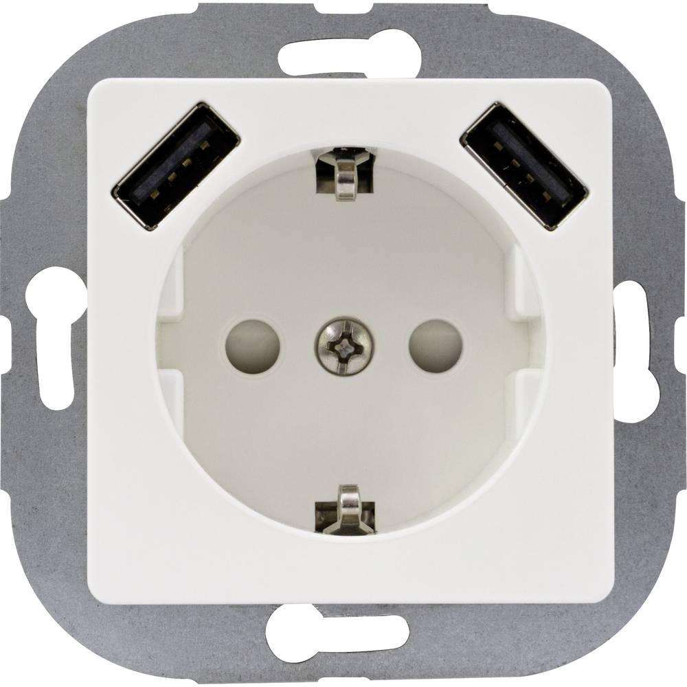 REV 0240130106 podometna vtičnica otroška zaščita, z USB ip20 bela