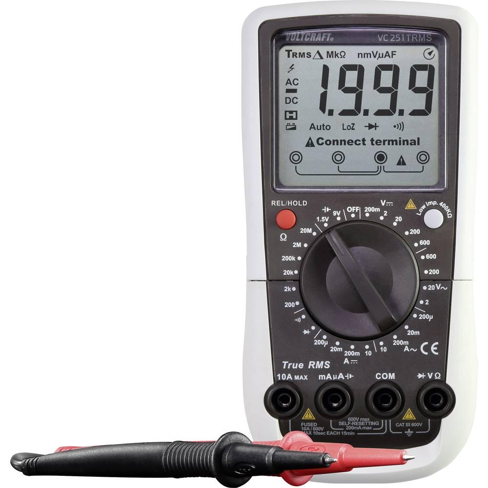 VOLTCRAFT VC251 TRMS ročni multimeter, digitalni, kalibracija narejena po: delovnih standardih CAT III 600 V število znakov na z