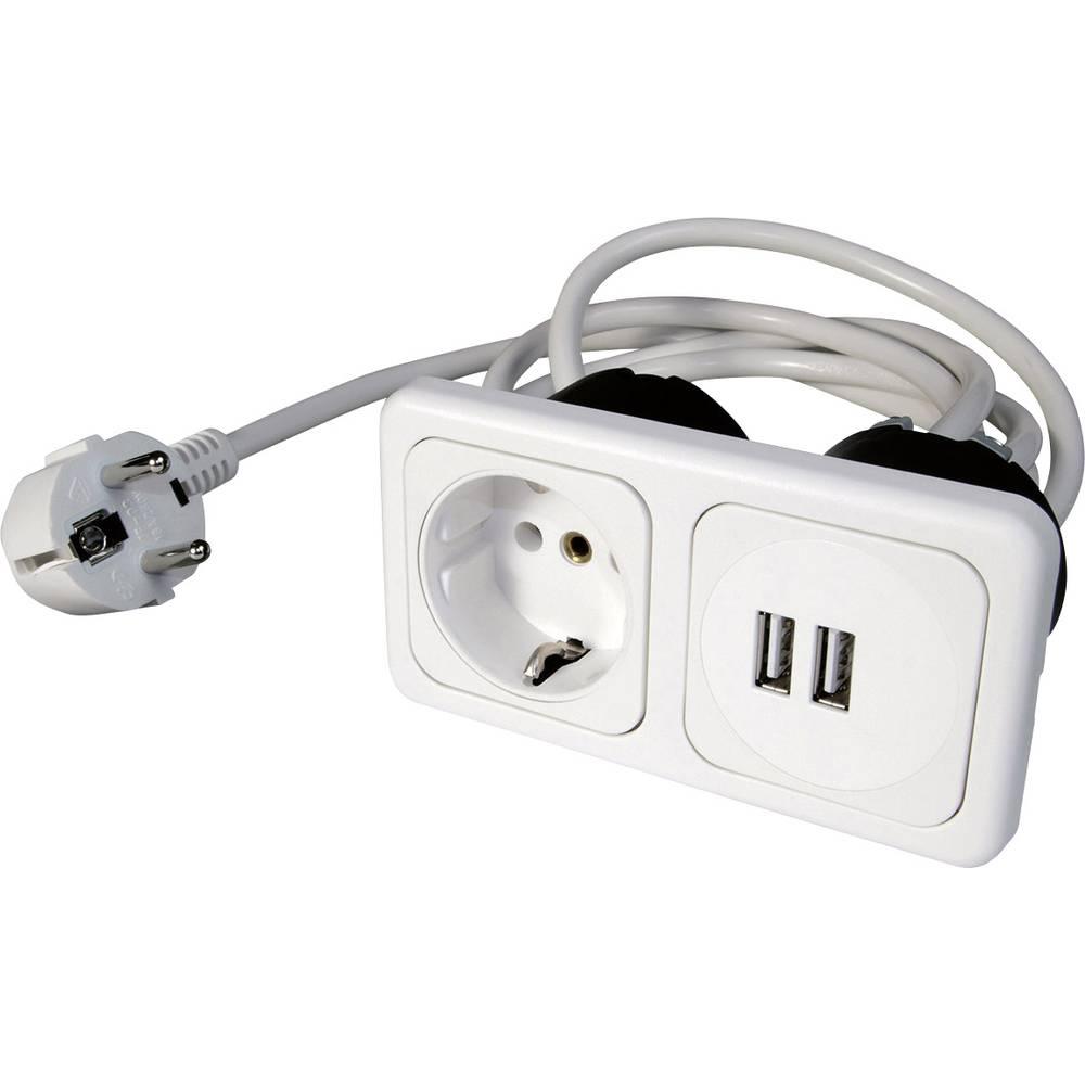 inprojal elektrosysteme 9016-108-81 1 kratni vgradna vtičnica z USB ip20 bela