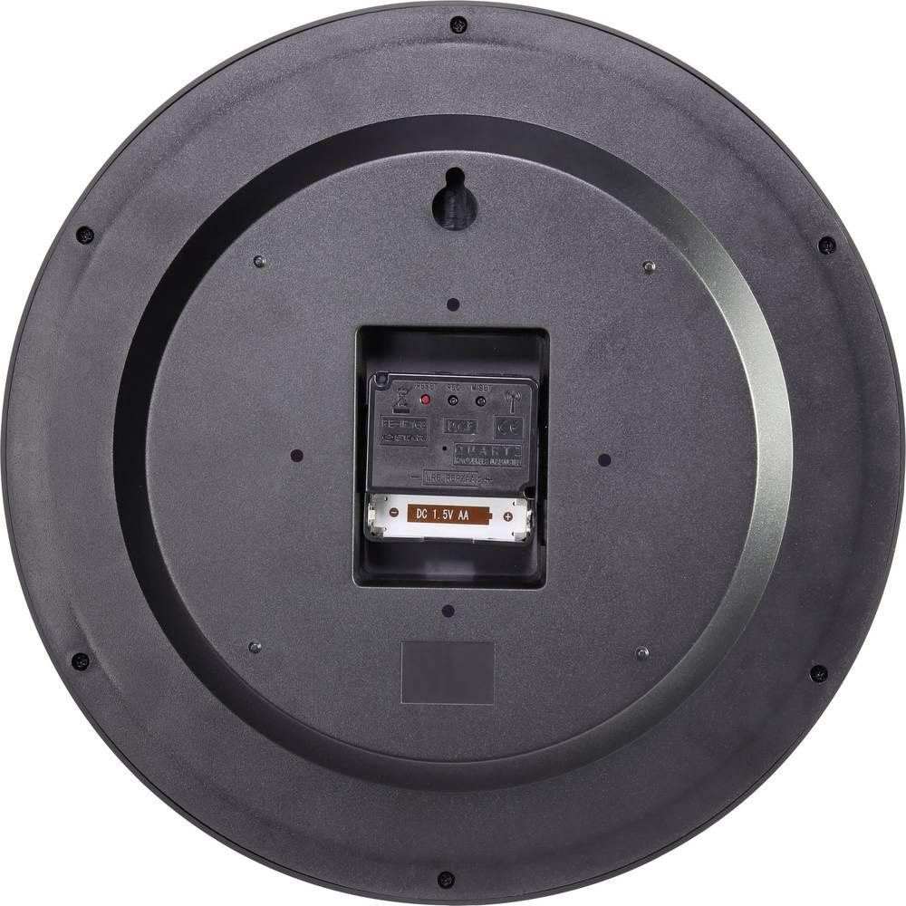 Radijsko vodena stenska ura Basetech 300 mm x 45 mm črne barve