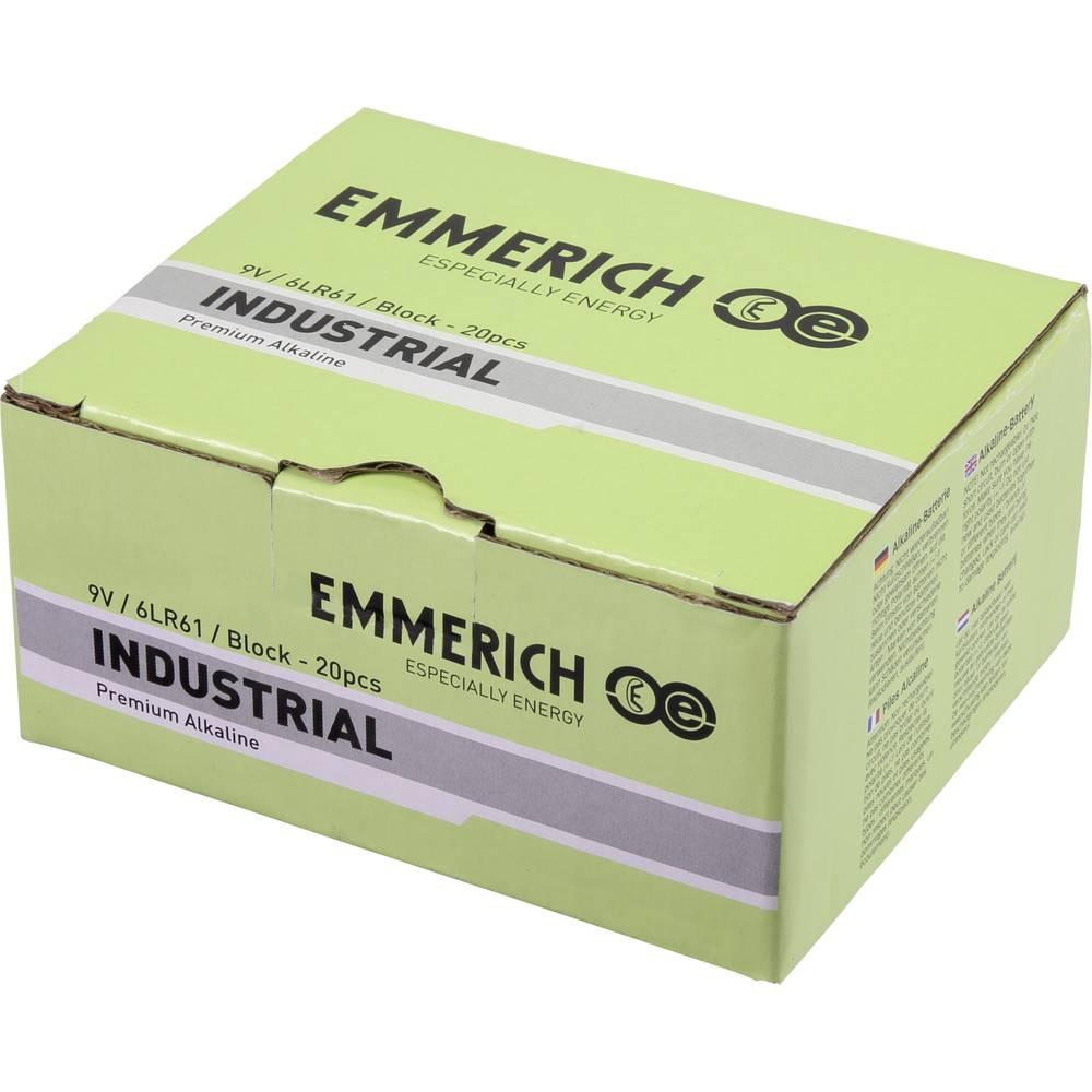 9 V block baterija Alkalno-manganov Emmerich Industrial 6LR61 500 mAh 9 V 20 ST