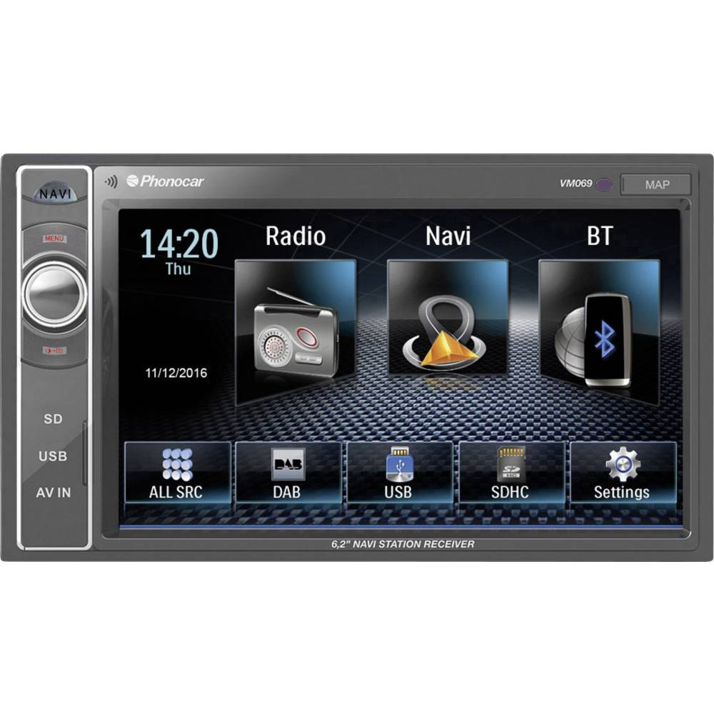 Phonocar VM069E Navigacijska naprava, fiksna vgradnja Evropa Bluetooth® komplet za prostoročno telefoniranje, Z daljinskim u