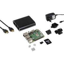 Raspberry Pi® 3 B+ Raspberry 3B+ BASIC SET 1 GB 4 x 1.4 GHz uklj. kućište, Uklj. napajanje, Uklj. Noobs OS, uklj. hladnjak J