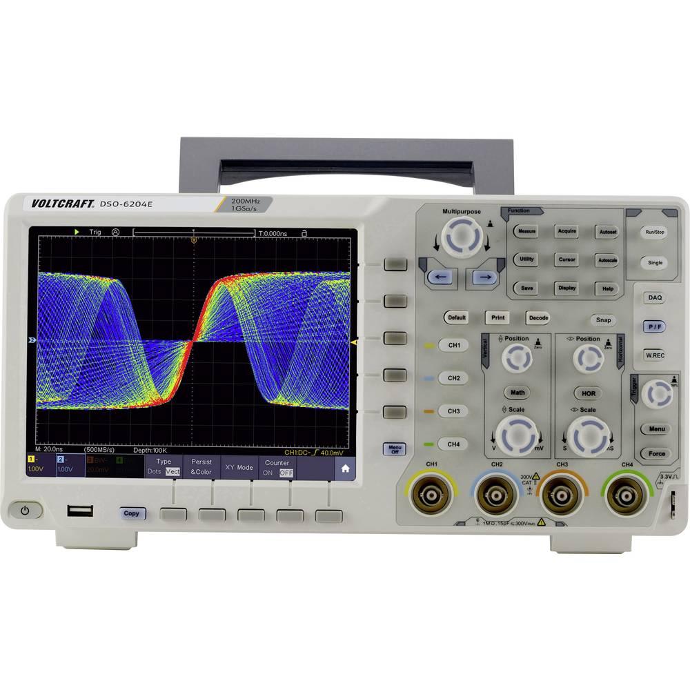 Digitalni osciloskop VOLTCRAFT DSO-6204E 200 MHz 1 GSa/s 40000 kpts 8 Bit Kalibriran po ISO Digitalni osciloskop s memorijom (OD