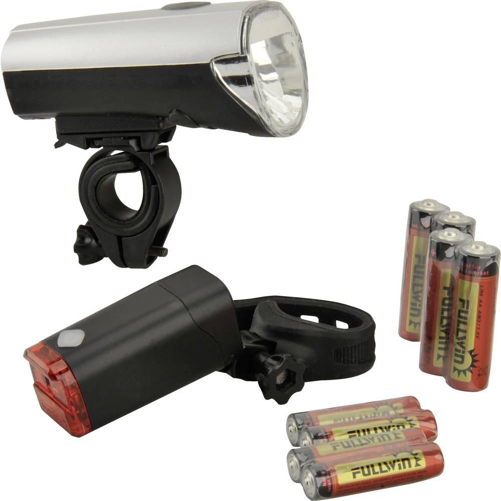 komplet svjetla za bicikl Fischer Fahrrad 85330 led baterijski pogon srebrna (mat)