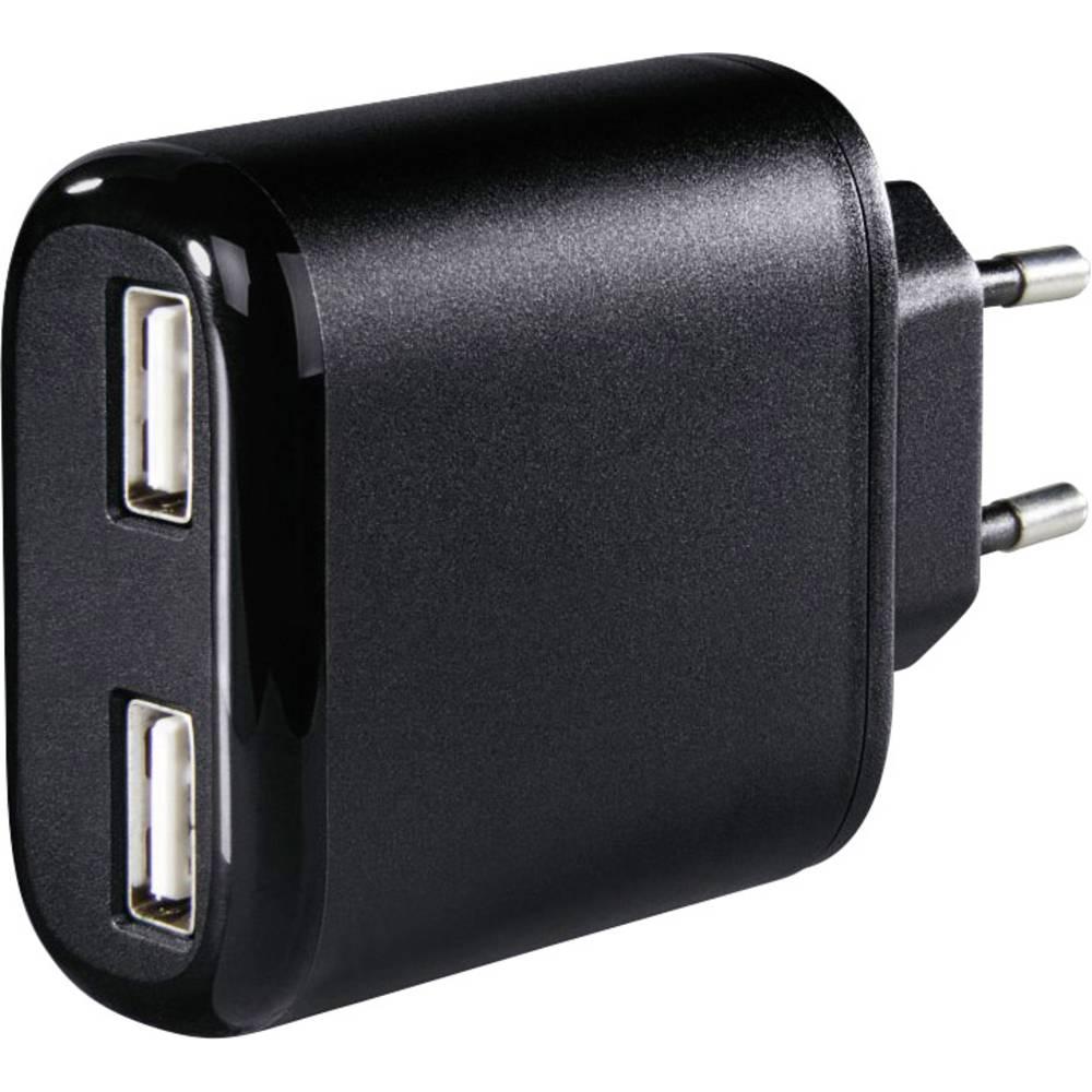 Hama 2-fach 173608 USB napajalnik vtičnica Izhodni tok maks. 4800 mA 2 x USB