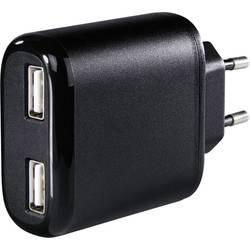 Vägguttag USB-laddare Hama 2-fach 2 xUSB 4800 mA Svart