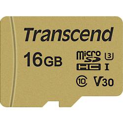Transcend Premium 500S microsdhc kartica 16 GB Class 10, UHS-I, UHS-Class 3, v30 Video Speed Class uklj. sd-adapter
