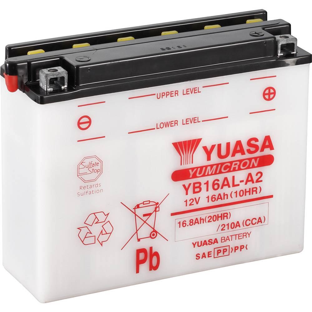 Motorcykelbatteri Yuasa YB16AL-A2 12 V 16 Ah Motorräder, Motorroller, Quads, Jetski, Schneemobile, Aufsitz-Rasenmäher