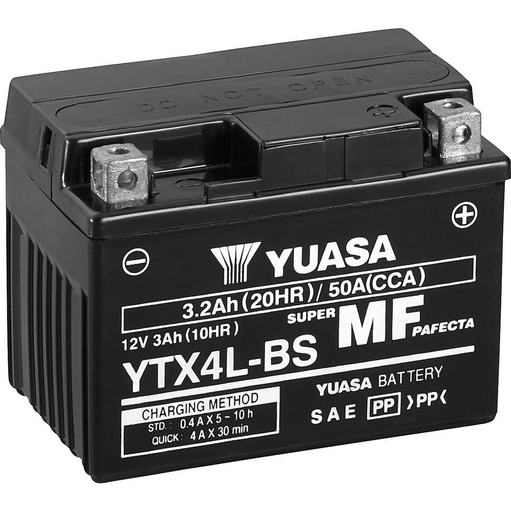 Motorcykelbatteri Yuasa YTX4L-BS 12 V 3 Ah Motorräder, Quads, Jetski, Schneemobile