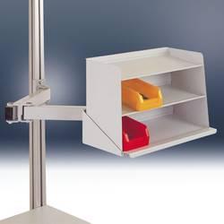 Manuflex ZB8248.7035 Držalo za police za razstavne omare z dvojnim sklepom za ALU mizo RAL7035 svetlo sive barve Barva proizvaja