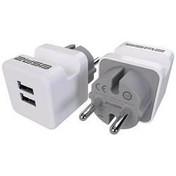 Mellankontakt brytare 2USB Plast med USB-anslutning 230 V IP20 Vit, Grå