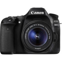 Systemkamera Digital Canon EOS 80D inkl. EF-S 18-55 mm IS STM 24.2 MPix Svart
