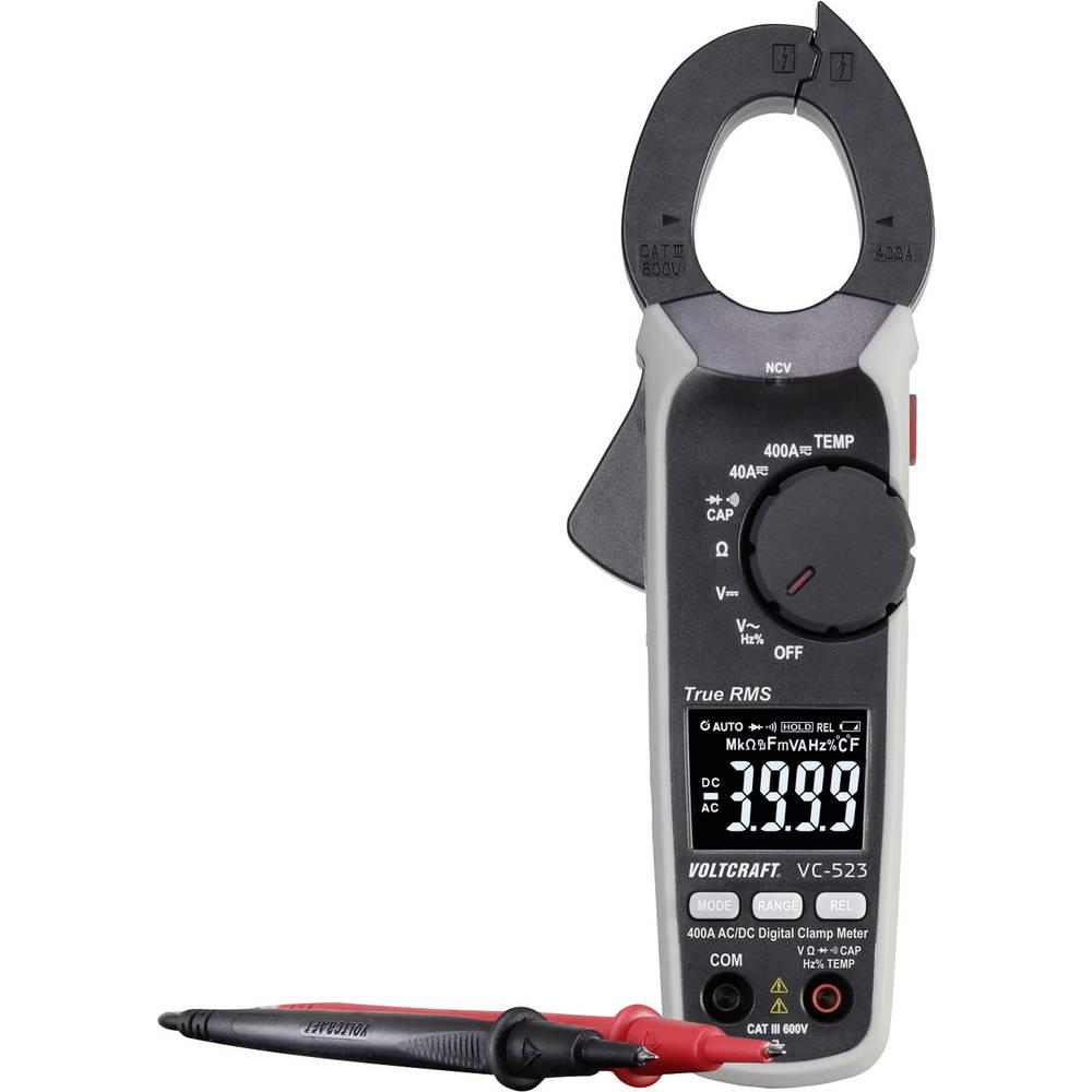 Tokovne klešče Digitalni VOLTCRAFT VC-523 (ISO) Kalibrirano ISO CAT III 600 V Prikaz (štetje): 4000