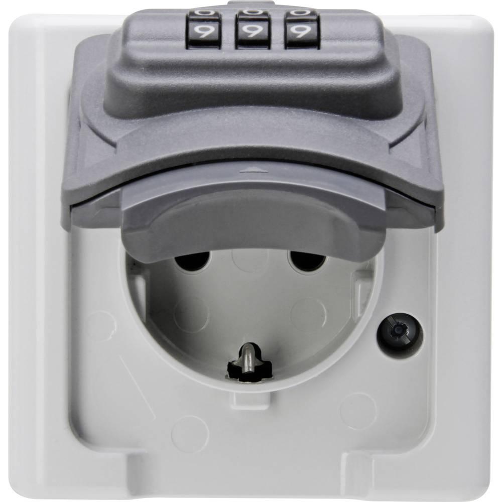 Kopp 109856007 1 kratni nadometna vtičnica zaklepna ip44 siva, črna