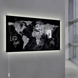 Sigel magnetna steklena plošča z LED osvetlitvijo Artverum World Map LED Light črna (Š x V) 91 cm x 46 cm GL409