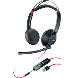 Telefonske slušalke USB, 3.5 mm klinke žične Plantronics Blackwire C5220 On Ear črne, rdeče barve