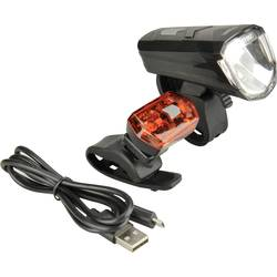 komplet svetil za kolo Fischer Fahrrad 85344 led akumulatorsko črna
