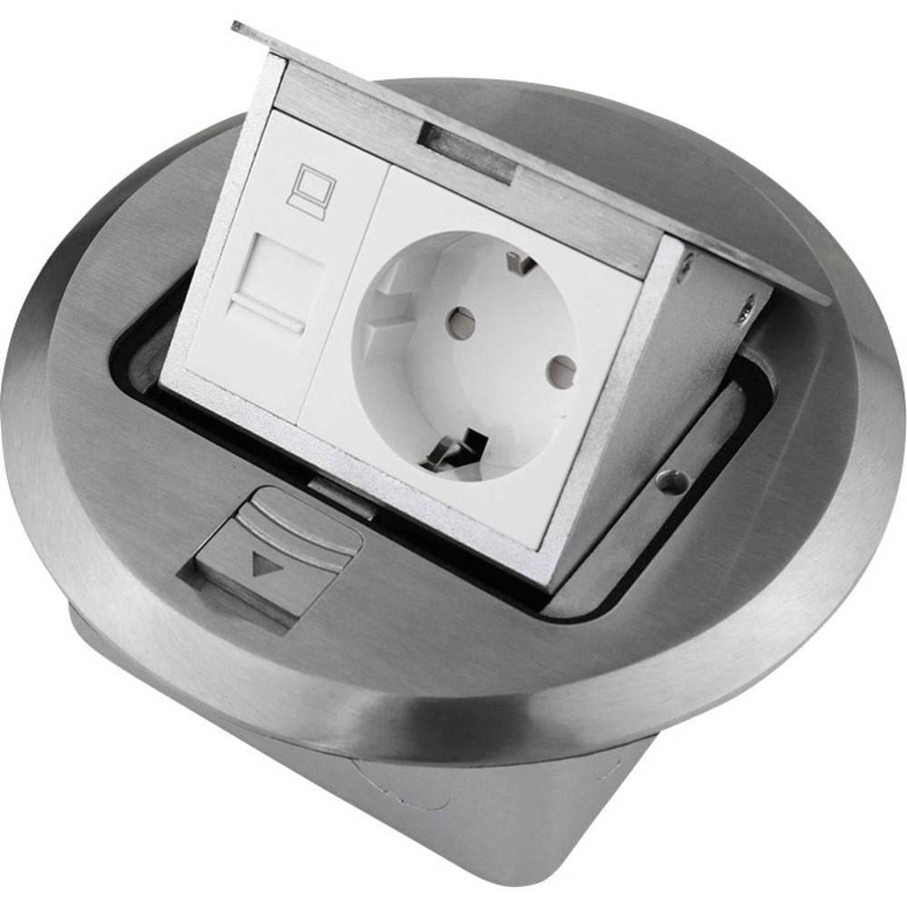 LEDmaxx ALU1R1S 1 kratni podnožje za vgradno vtičnico s cat5 vtičnico ip20 aluminij