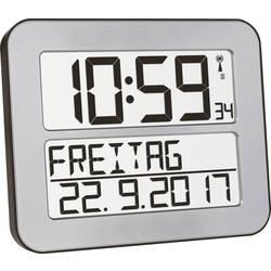 TFA Dostmann 60.4512.54 radijska stenska ura 258 mm x 212 mm x 30 mm srebrna, črna velik zaslon