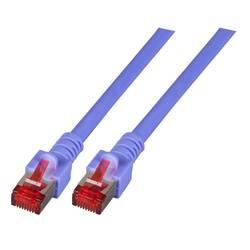 EFB Elektronik LAN (RJ45) Omrežni Priključni kabel CAT 6 S/FTP 0.50 m Vijolična Ognjevaren, Brez halogena, Z zaščitnim zapornim