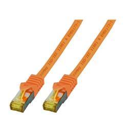 EFB Elektronik LAN (RJ45) Omrežni Priključni kabel CAT 6a (kabel CAT 7) S/FTP 0.25 m Oranžna Ognjevaren, Brez halogena, Z zaščit