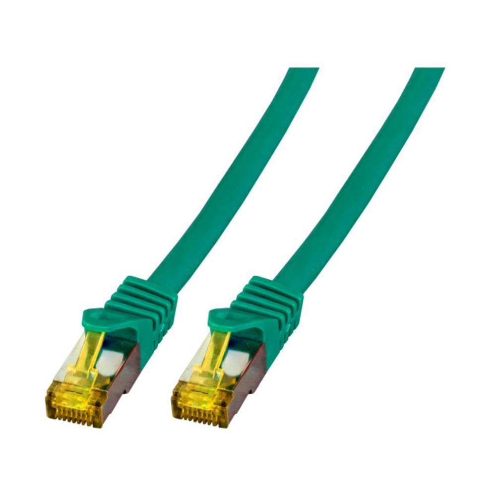 EFB Elektronik lan (RJ45) omrežni kabel, patch kabel cat 6a (kabel cat 7) S/FTP 7.50 m zelena ognjevaren, brez halogena, z zašči