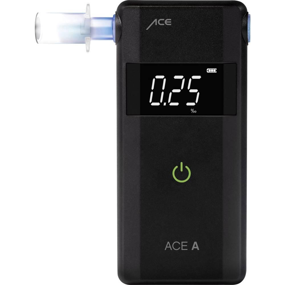 ACE A alkotester črne barve 4.00 do 0.00 ‰ alarm, vklj. zaslon, odštevalnik časa