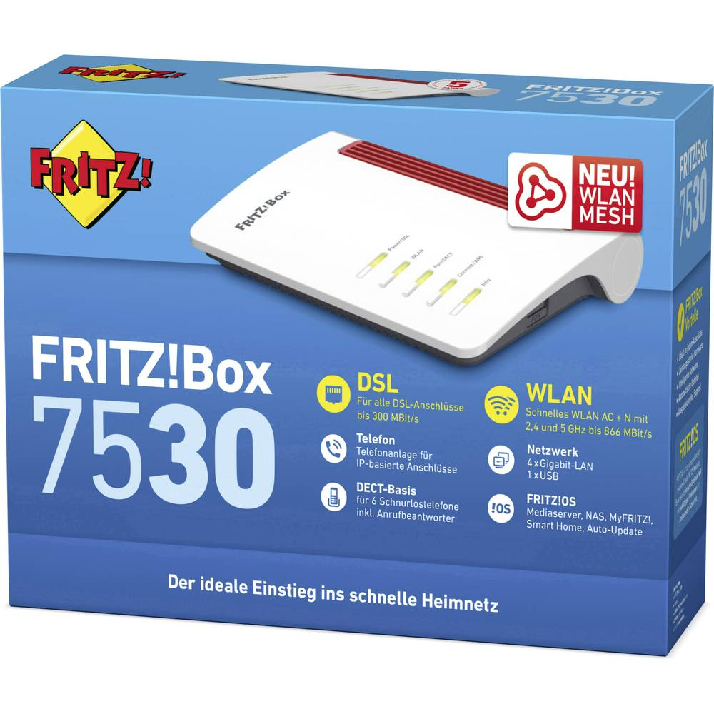 AVM FRITZ!Box 7530 WLAN router z modemom Integrirani modul: ADSL, VDSL 2.4 GHz, 5 GHz 1200 Mbit/s