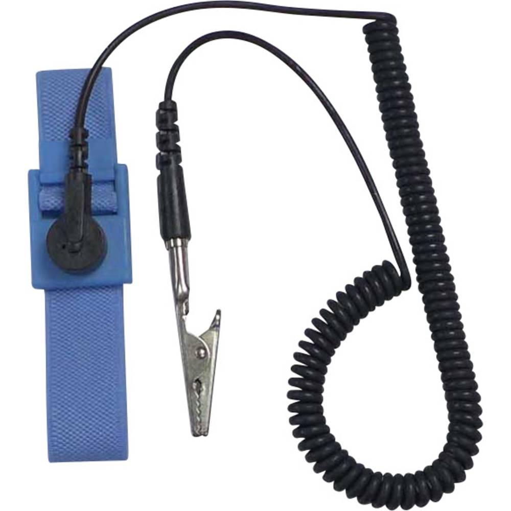 ESD zapestni trak, svetlo modre, črne barve, vklj. ozemljitveni kabel TRU Components SD-AS D4 pritisni gumb 9.52 mm (3/8)