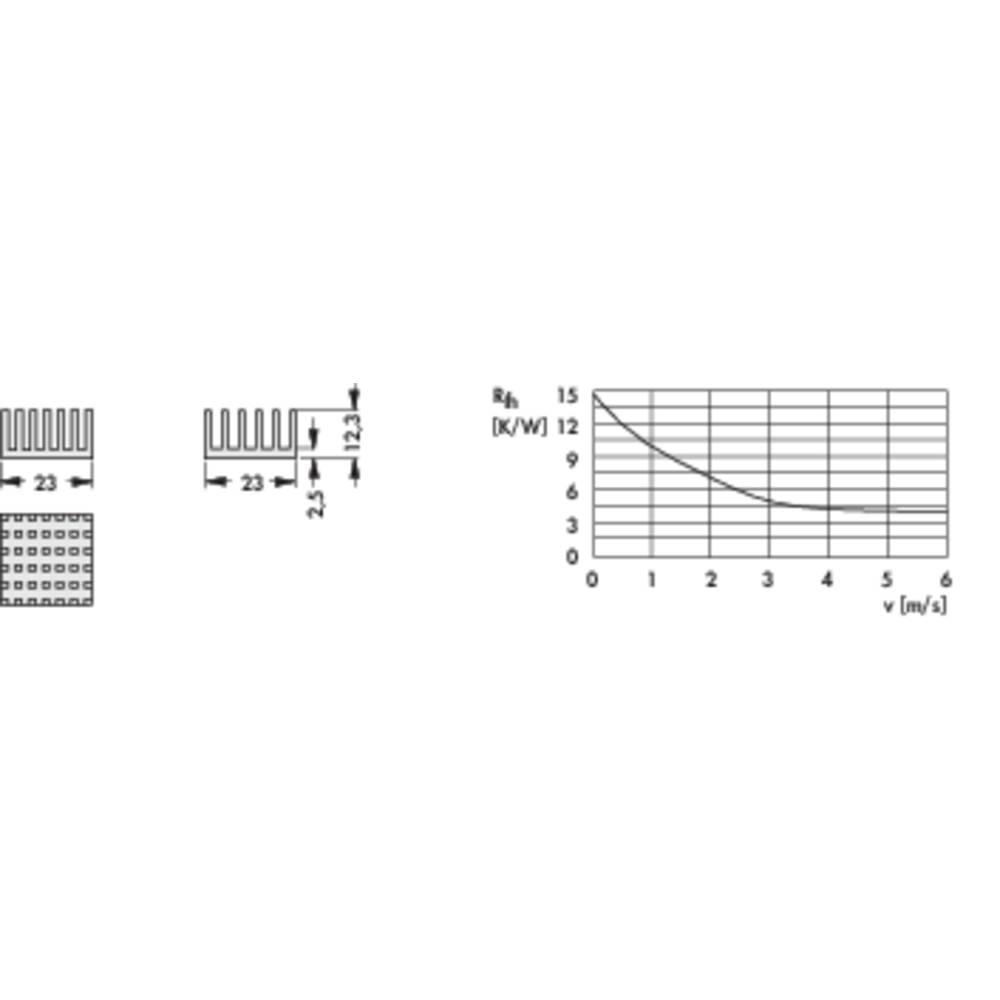 Kølelegemer 14.8 K/W (L x B x H) 23 x 23 x 12.3 mm Fischer Elektronik ICK PGA 8 X 8 X 12