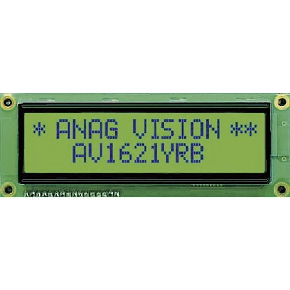LC-display Anag Vision AV1621YRB-SJ (B x H x T) 122 x 44 x 10 mm Sort Gulgrøn