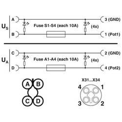 Pribor M12 razdjelnik s plastičnim navojem SACB-4/T-L-8FUSE CT AXL 1413929 Phoenix Contact 1 ST
