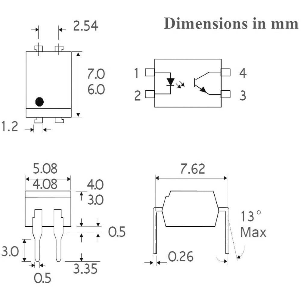Isocom Components ISP817BXSM-Optospojnik, ohišje: DIL 4, SMD, fototranzistor/Single