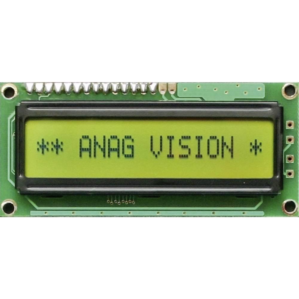LCD zaslon, črna, rumeno-zelena (Š x V x G) 80 x 36 x 13.5 mm 6H LED EV