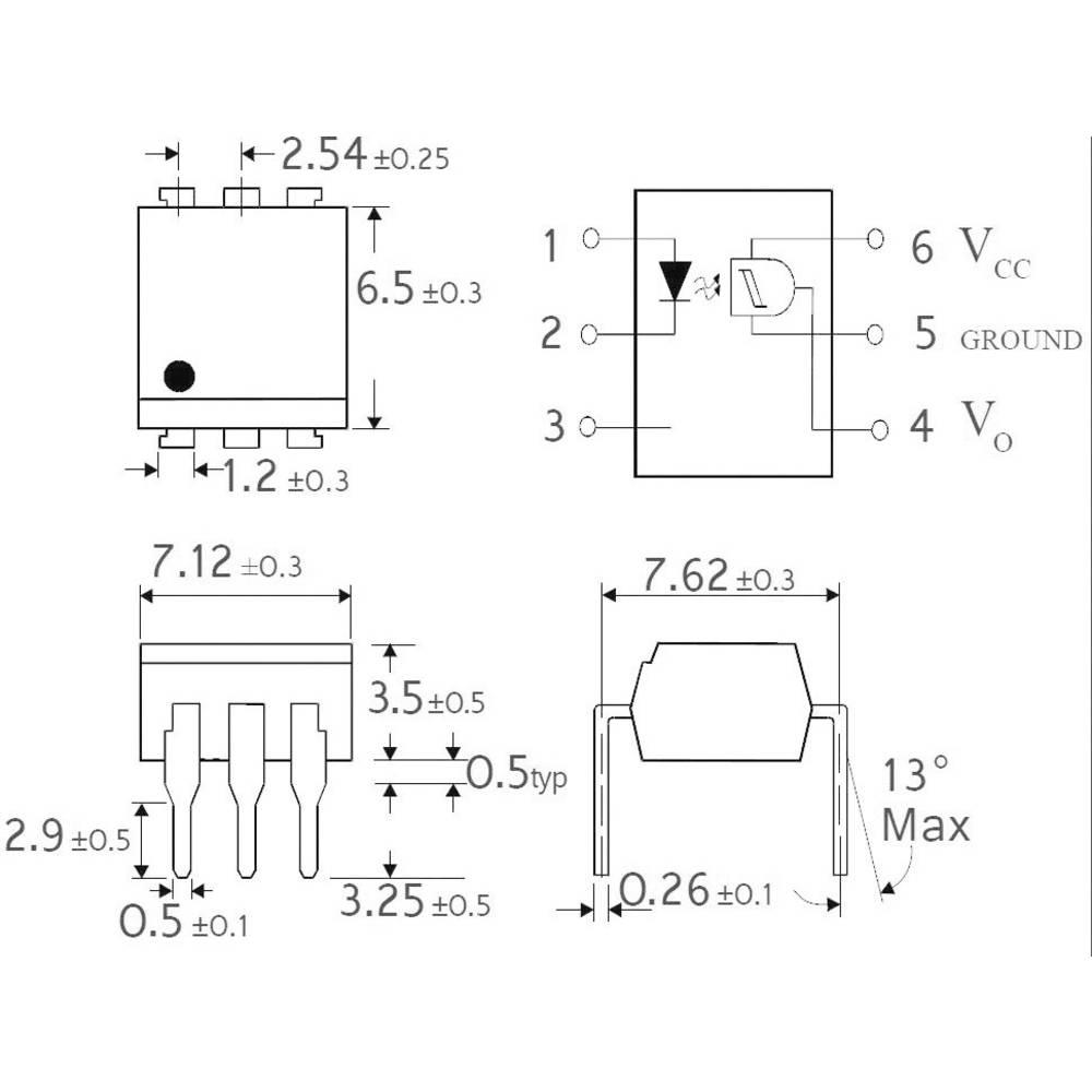 Isocom Components H11L1SMT/R-Optospojnik, kućište: DIL 6, SMD, Schmittov okidač