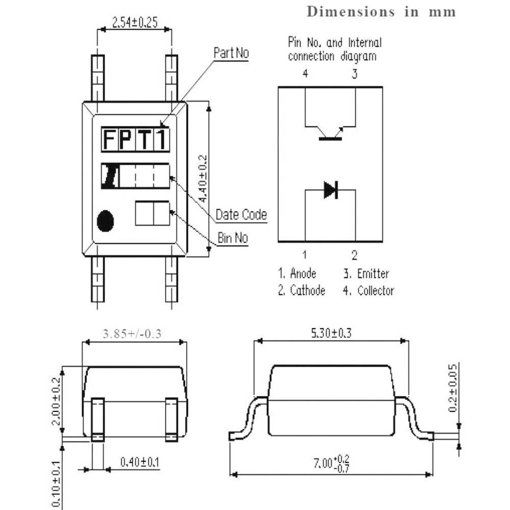 Isocom Components IS121-Optospojnik, ohišje: SMD, 4 pini, izvedba: fototranzistor/Single