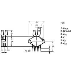 Senzor tlaka NXP Semiconductors MPX5100DP 0 kPa do 100 kPa tiskano vezje