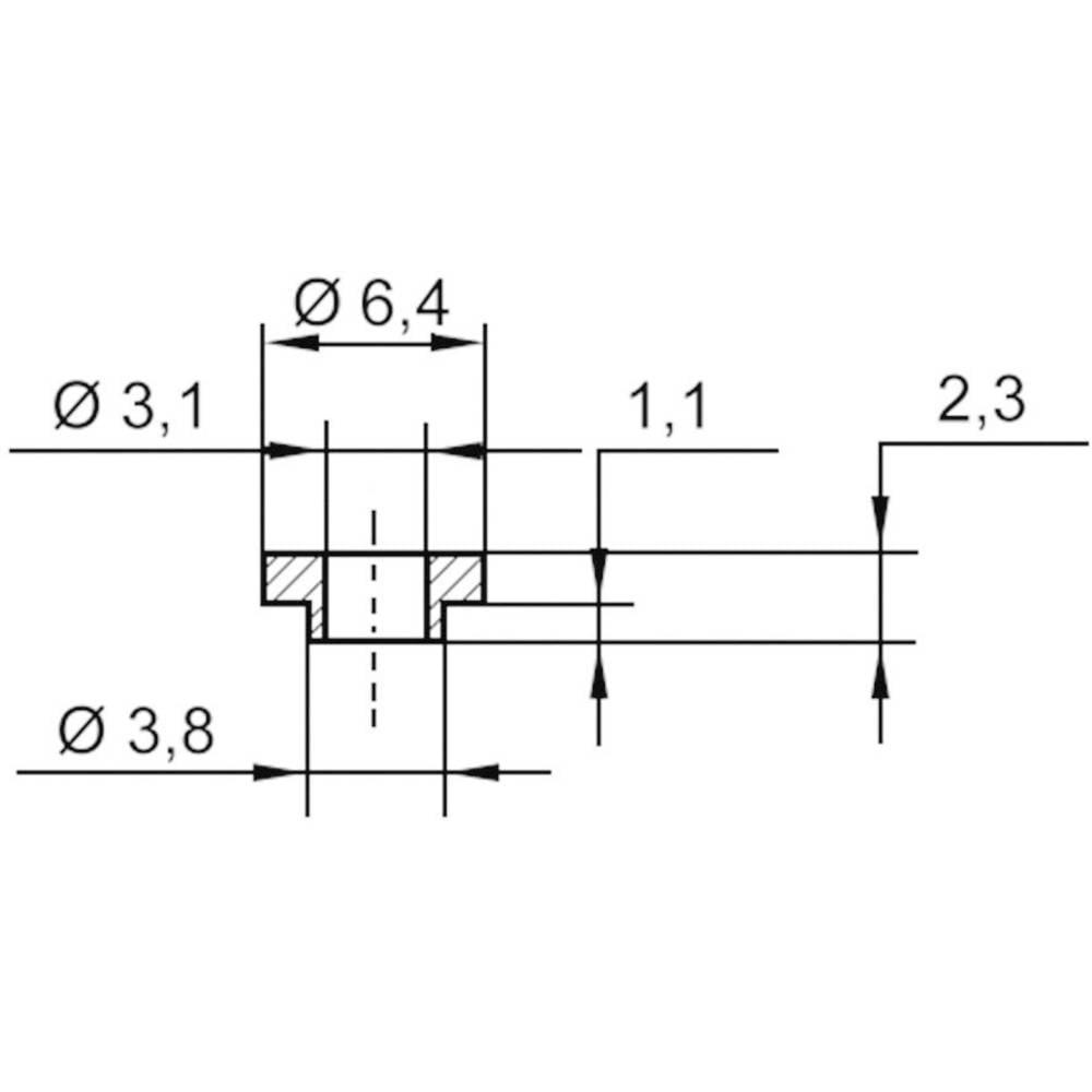 Izolirna podložka-vtičnica 1 kos TC-V5731-203 TRU Components zunanji premer: 6.4 mm 3.8 mm notranji premer: 3.1 mm