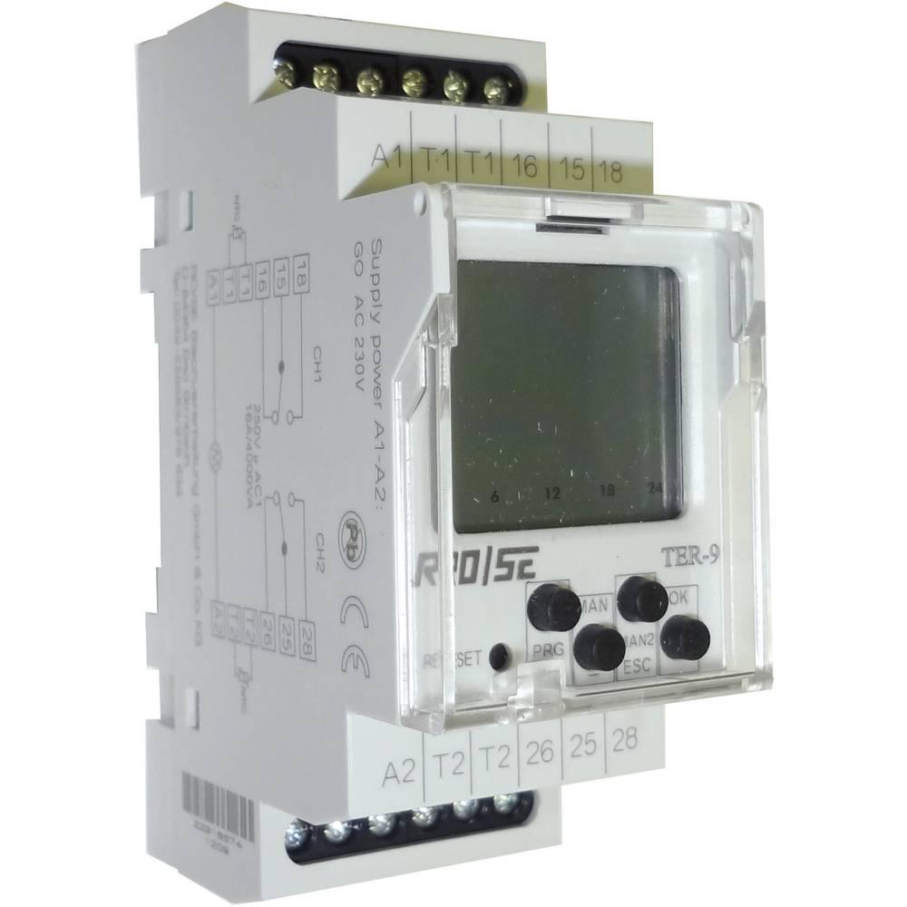 Rose LM TER-9-Višeunkcijski digitalni termostat, 2 ulaza/2 preklopna izlaza,-40/+110°C, 8A