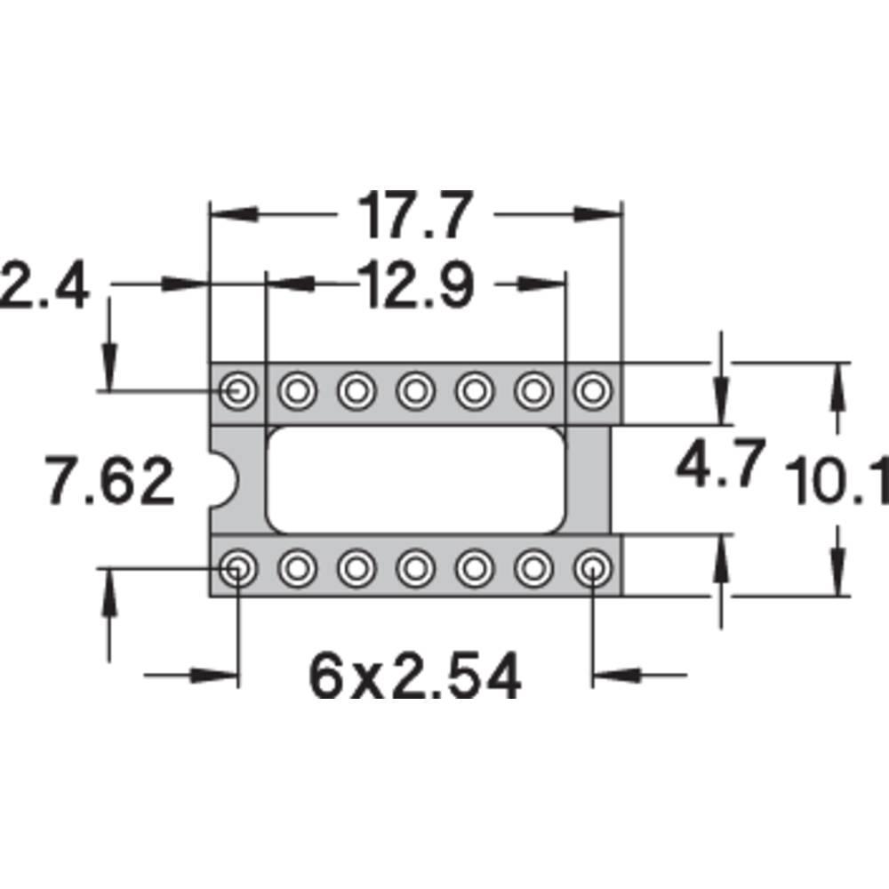 IC podnožje 7.62 mm št. polov: 14 Preci Dip 110-83-314-41-001101 natančni kontakti 1 kos