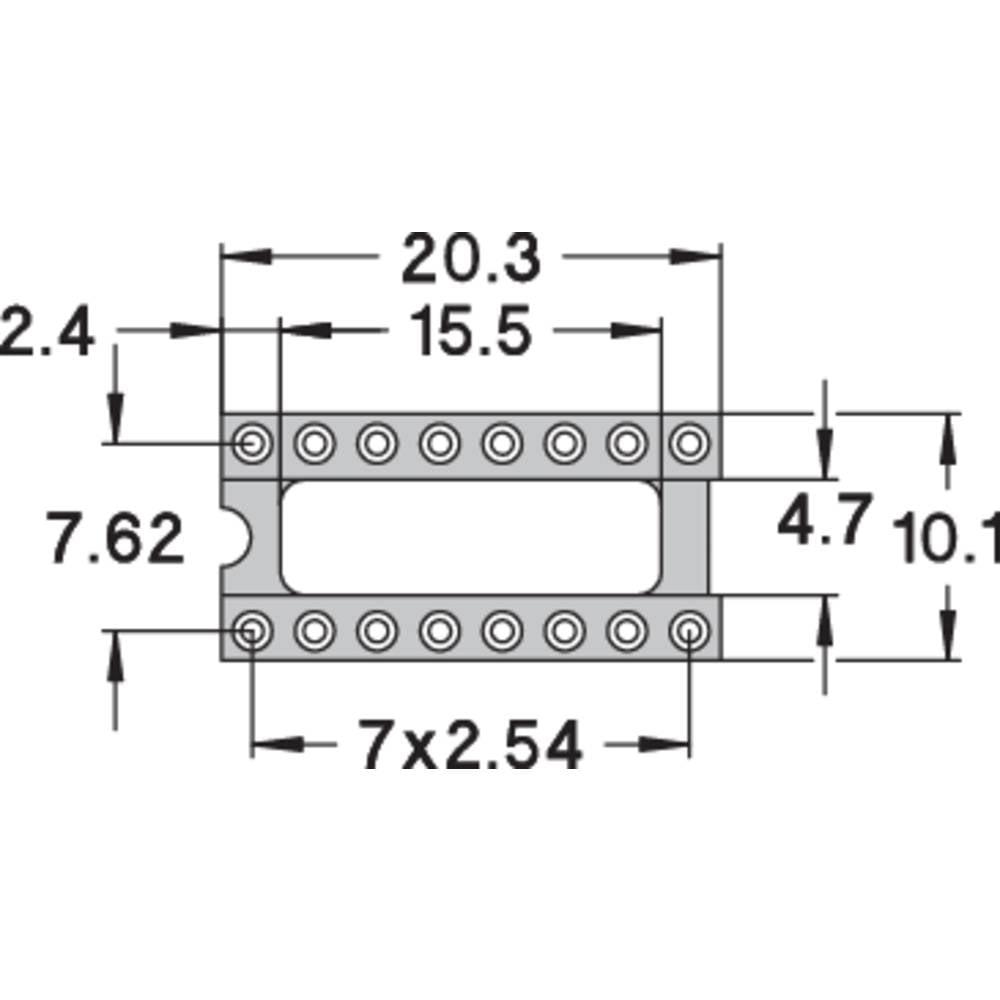 IC podnožje 7.62 mm št. polov: 16 Preci Dip 110-83-316-41-001101 natančni kontakti 1 kos