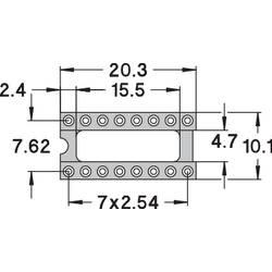 IC-fatning Rastermål: 7.62 mm Poltal: 16 Preci Dip 110-83-316-41-001101 Præcisions-kontakt 1 stk