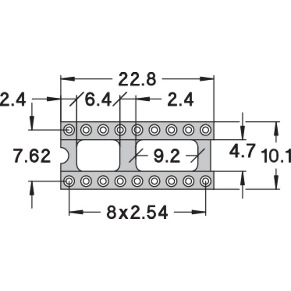IC-fatning Rastermål: 7.62 mm Poltal: 18 Preci Dip 110-83-318-41-001101 Præcisions-kontakt 1 stk