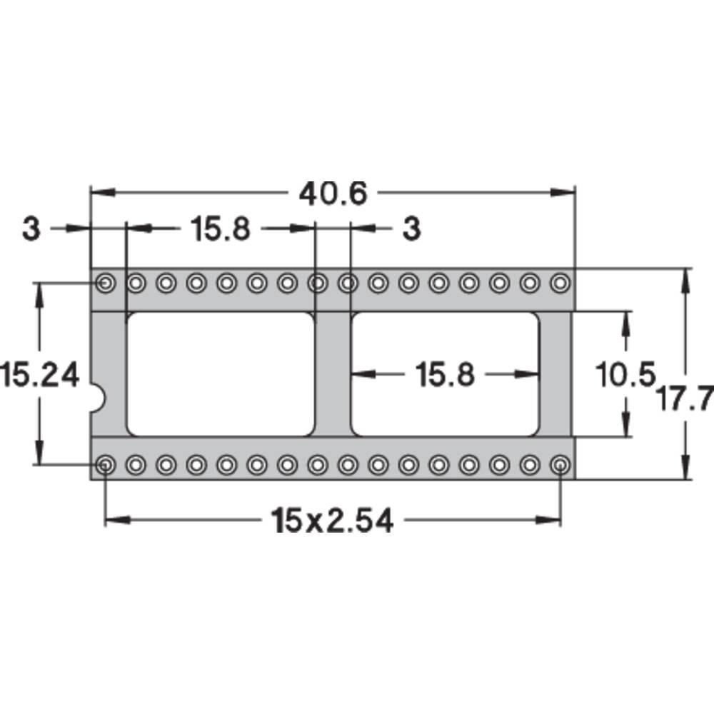 IC podnožje 15.24 mm št. polov: 32 Preci Dip 110-83-632-41-001101 natančni kontakti 1 kos