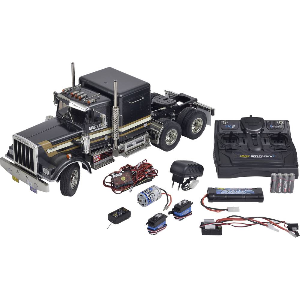 Tamiya 333056336 King Hauler Black Edition 1:14 Električni RC model kamiona Komplet za sastavljanje Ekskluzivni set , Predlakira