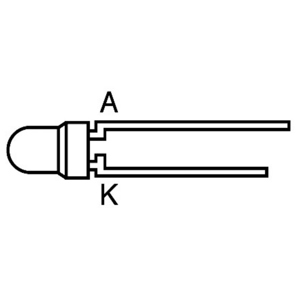 Ožičena LED dioda, rdeča, oranžna, okrogla 3 mm 20 mcd 50 ° 20 mA 2 V L934EC