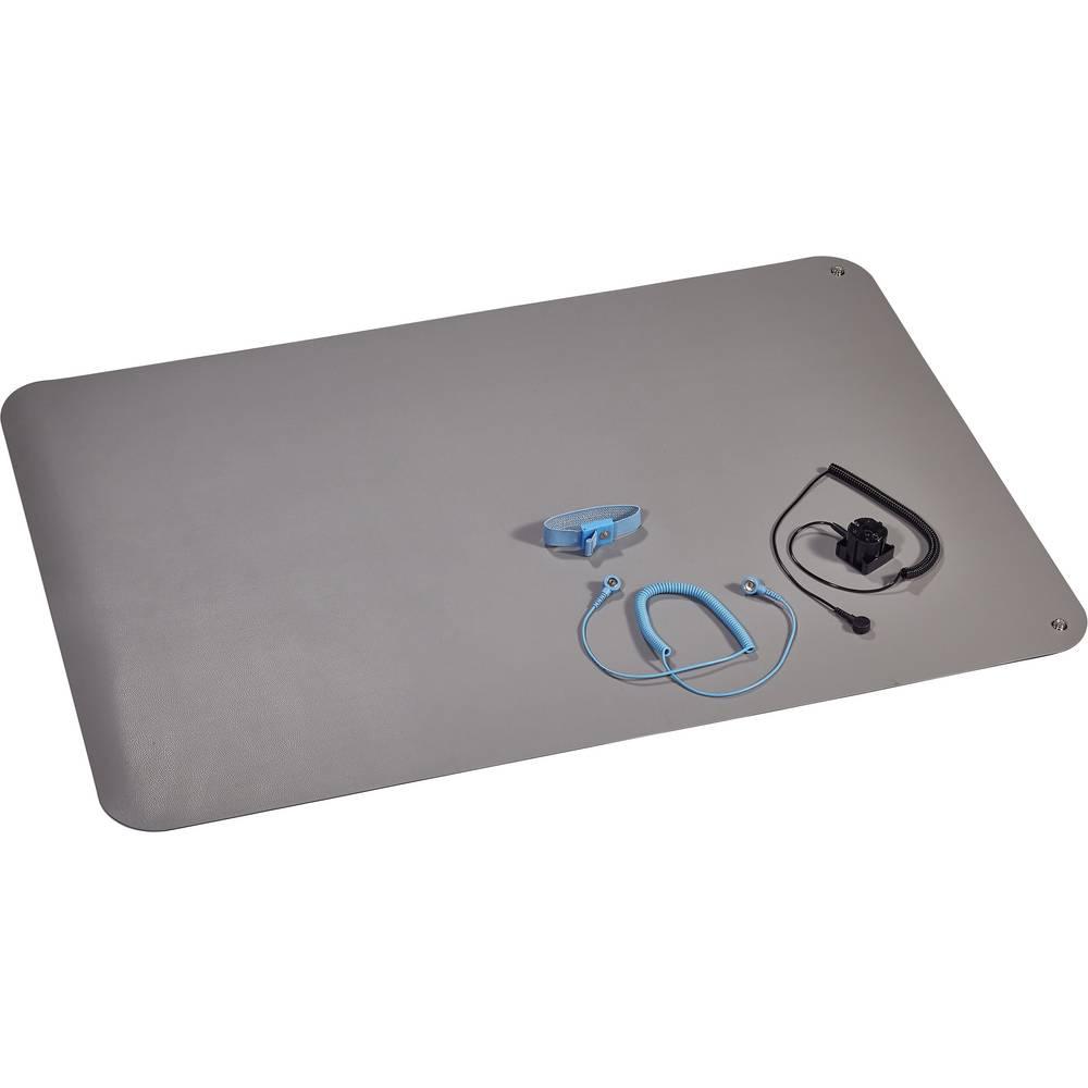 ESD namizna podloga v setu, platinasto sive barve (D x Š) 900 mm x 610 mm Wolfgang Warmbier 1400.663.C vklj. ozemljitveni kabel,